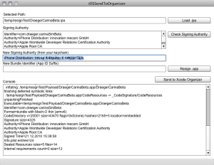 Resign an iPhone App, insert new Bundle ID and send to Xcode